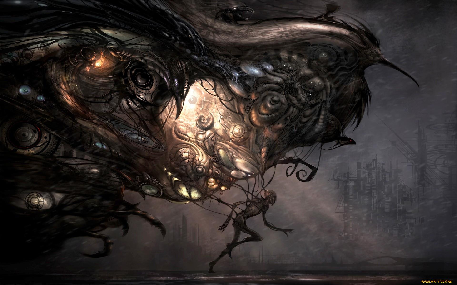 фэнтези, существа, тьма, свет, когти, птицы, бег, человек, город